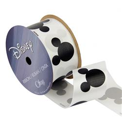 "1 1/2"" Mickey Mouse Ribbon Silouhette Black/White"