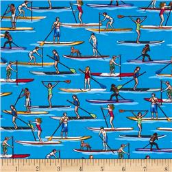 Timeless Treasures Paddle Boarders Blue