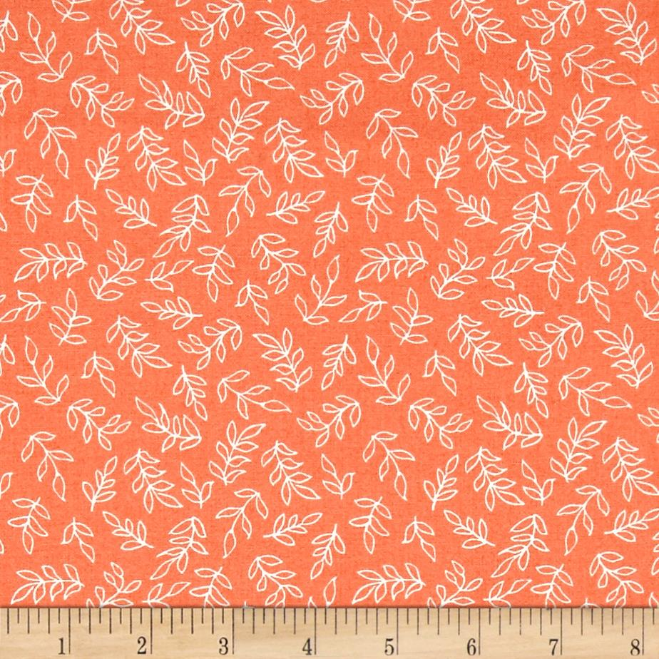Sweet Florals Scribble Leaves Coral
