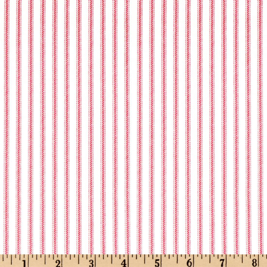 Ticking Stripe Rose Pink/Ivory Fabric