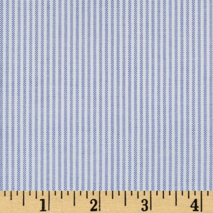 Kaufman Oxford Shirting Yarn Dyed Small Stripe Sky Blue