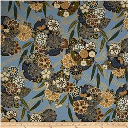Asuka Metallic Asian Floral Dusty Blue/Gold
