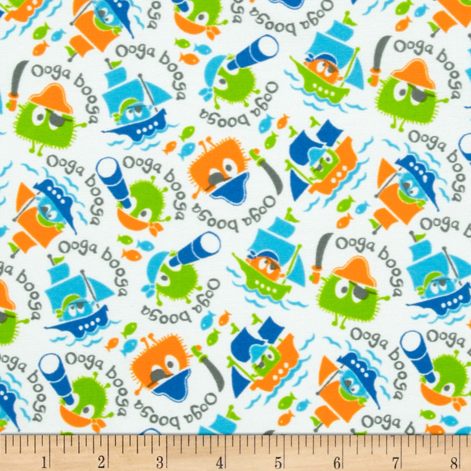 Pirate Ooga Booga PUL White Fabric