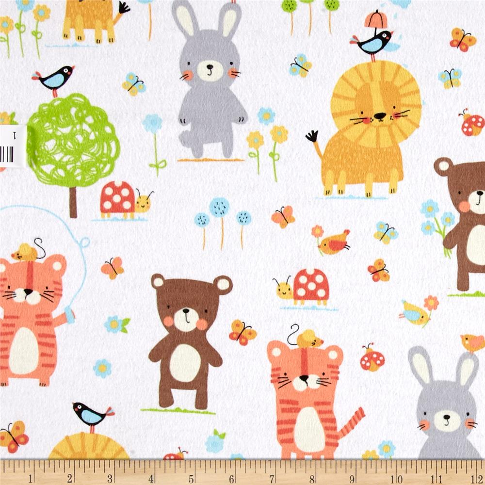 Michael Miller Nature Babies Flannel Nature Babies White Fabric