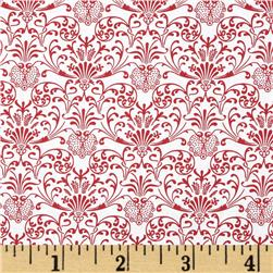 Red Damask White/Red Fabric