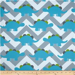 RCA Dinosaur Chevron Blackout Drapery Fabric Capri Blue/Grey