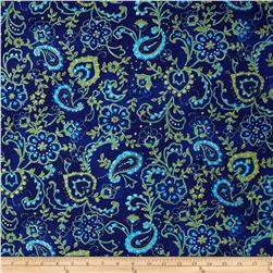 Hampton Collection Cotton Jersey Knit Paisley Navy