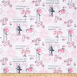 Timeless Treasures Ballet Collage Pink
