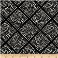 Cotton + Steel Black and White Lattice Dots Black