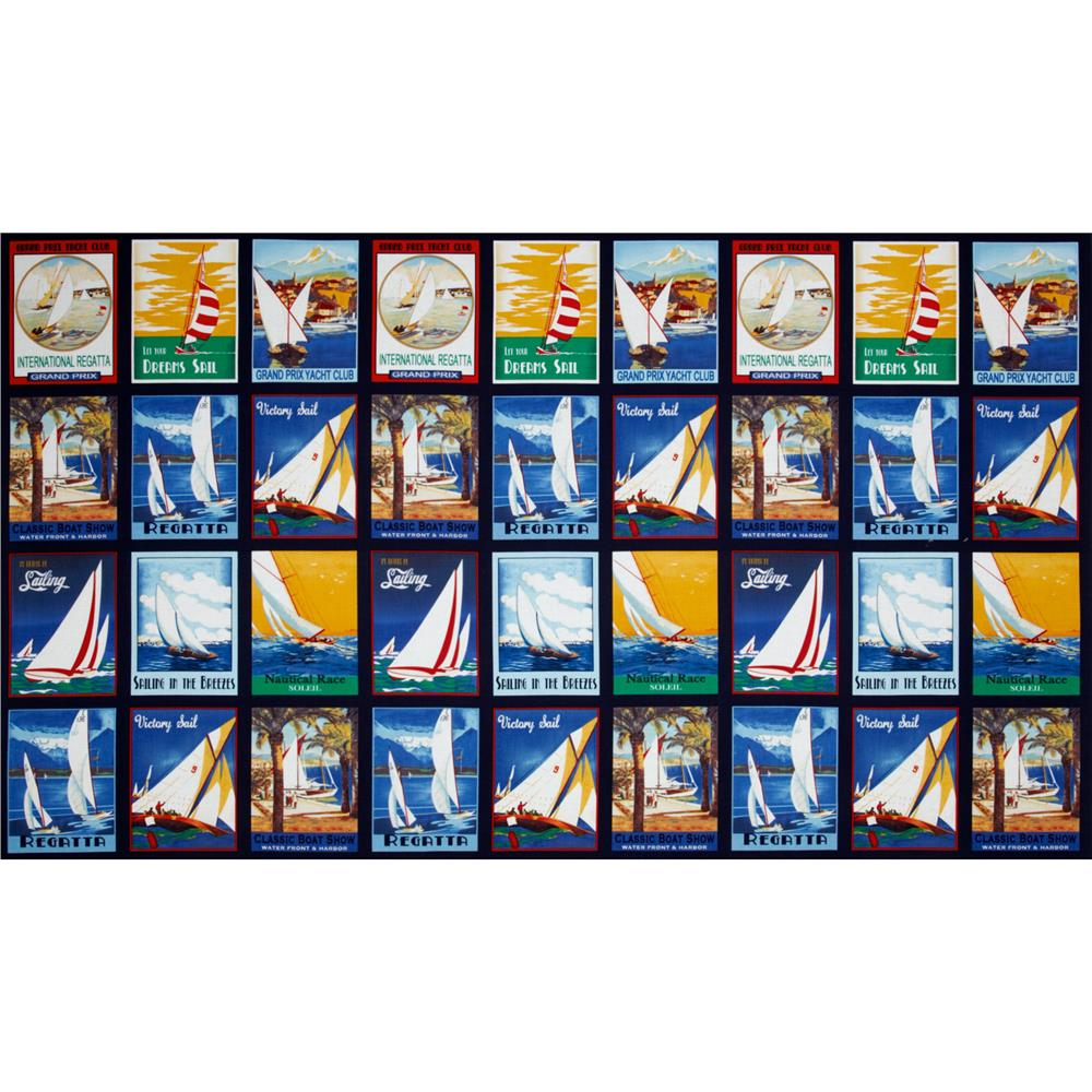 Sail Away Sailboat Squares Multi