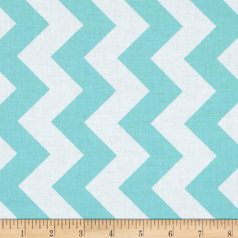 "Riley Blake 108"" Wide Medium Chevron Aqua"