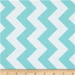 Riley Blake 108'' Wide Medium Chevron Aqua Fabric