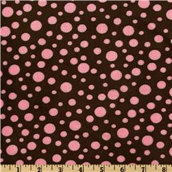 Minky Cuddle Dot Brown/Hot Pink