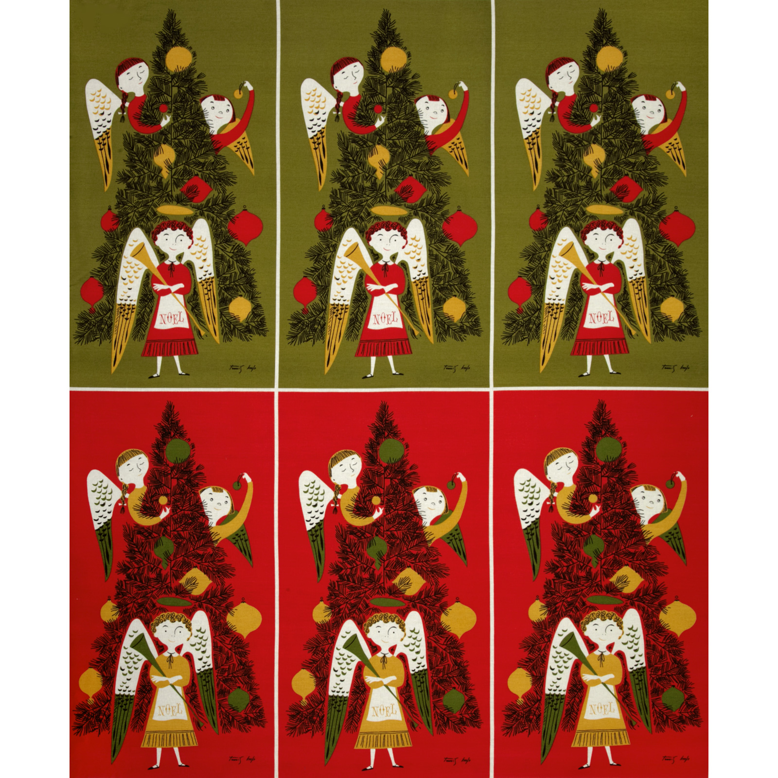 Michael Miller Tammis Angels Panel Red Fabric