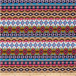 Stretch ITY Jersey Knit Aztec Pink/Orange/Mint