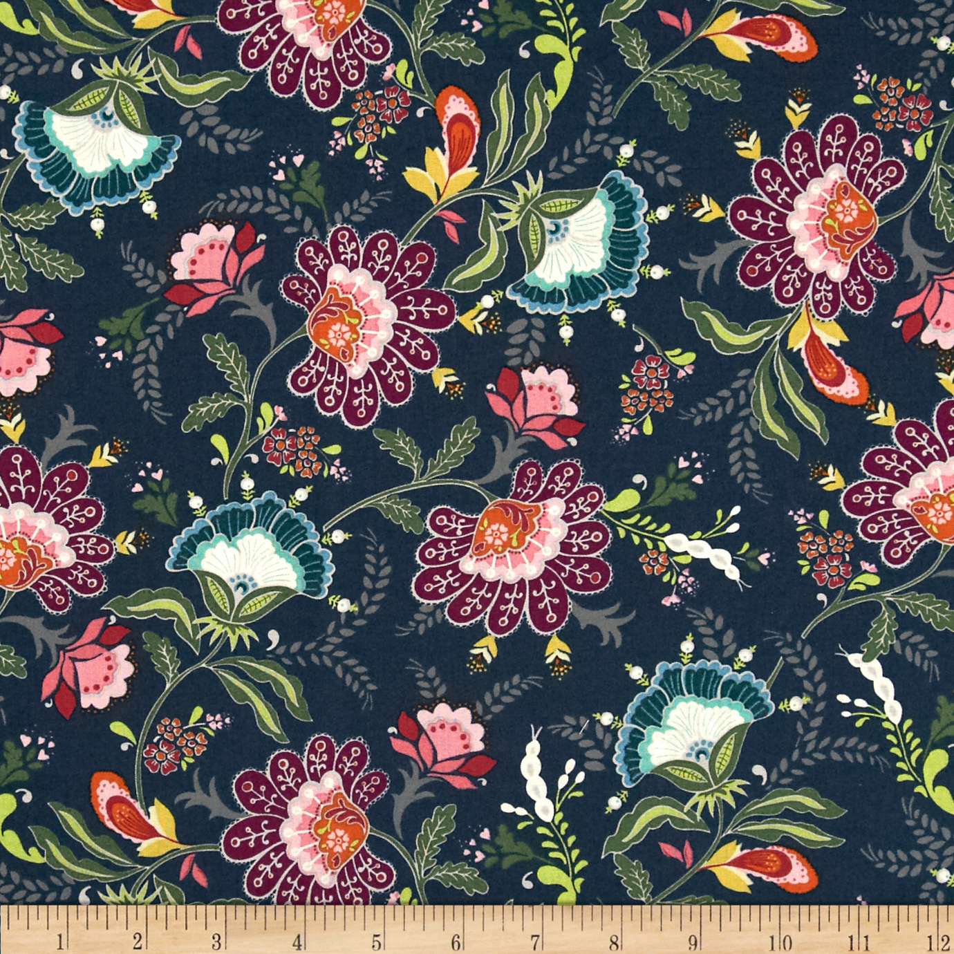 Color Love Large Floral Dark Teal Fabric