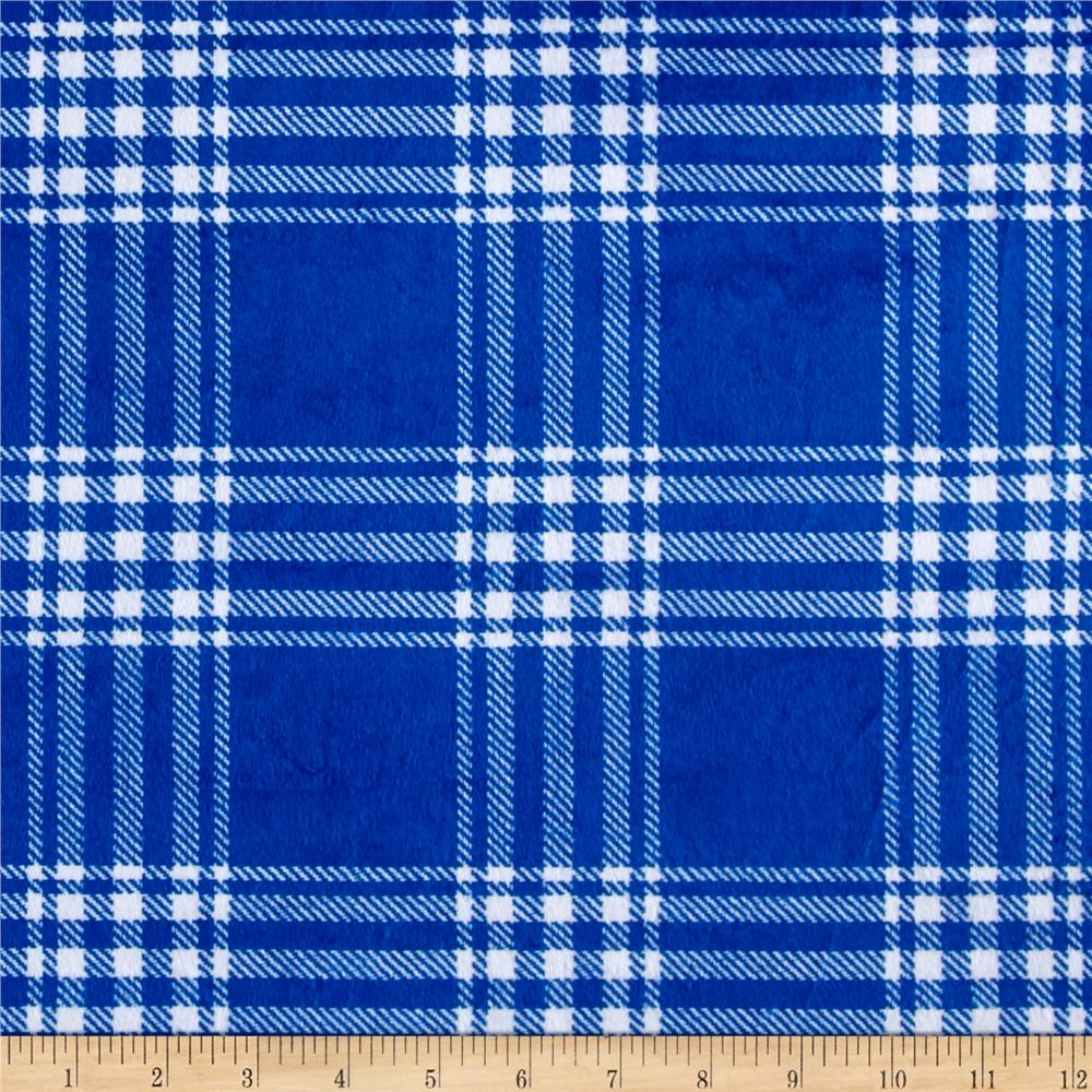 Minky Treas Plaid Royal
