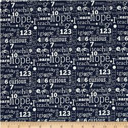 Riley Blake Pieces of Hope 2 Words Blue