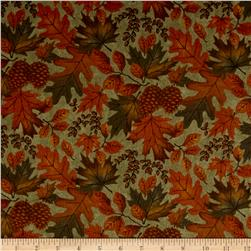 Moda Fall Impressions Flannel Large Leaf Basil
