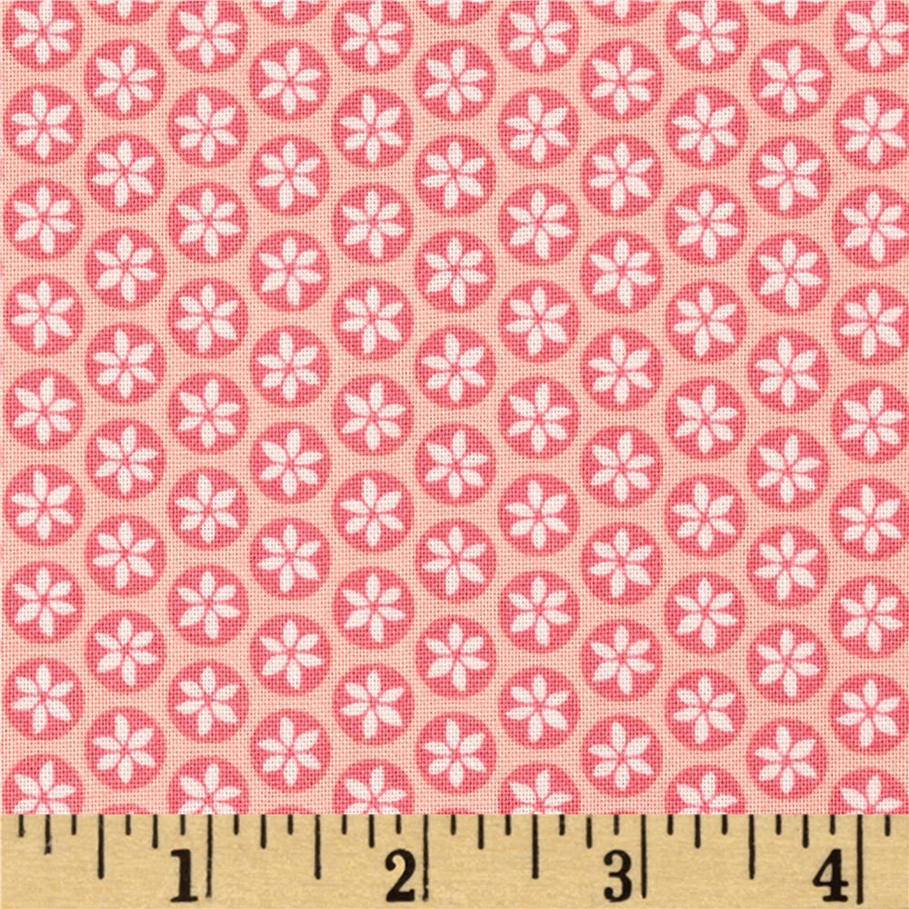 Captivate Daisy Dot Pink Chai Fabric By The Yard