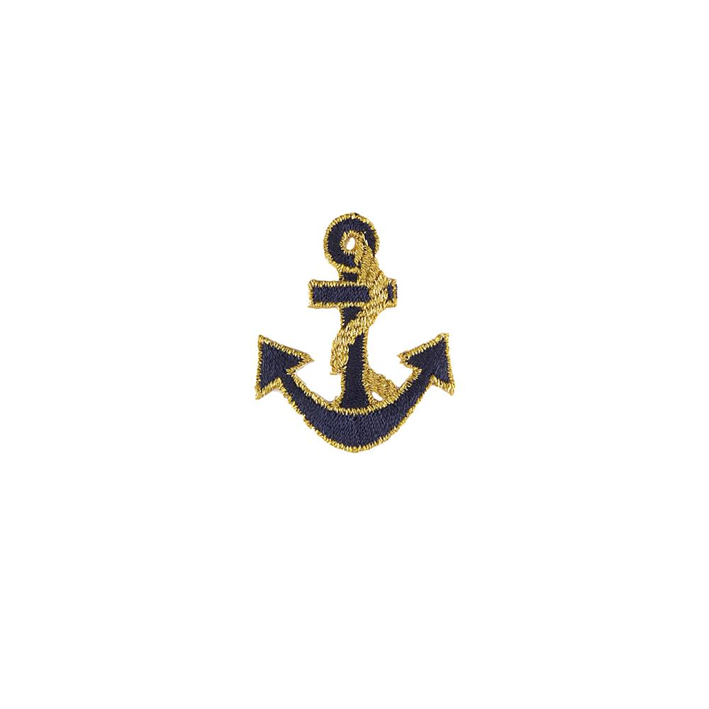 Anchor Applique Navy/Metallic Gold