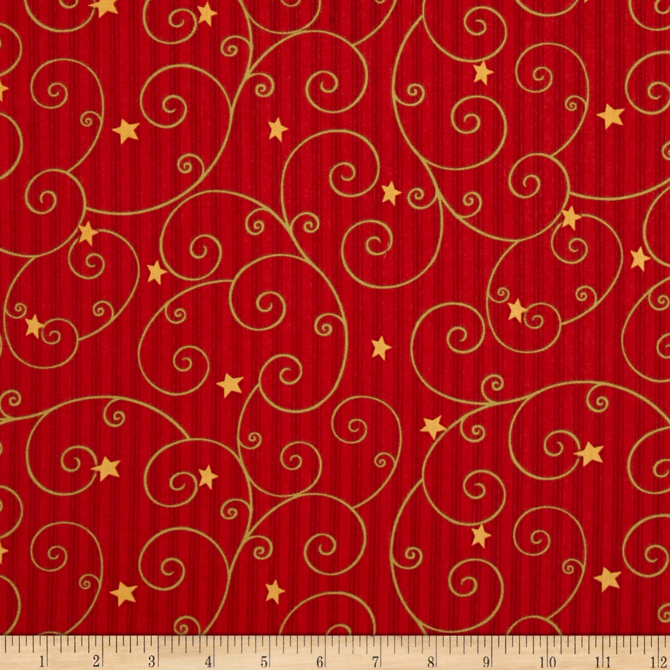 Believe Scroll/Stripe Red Fabric