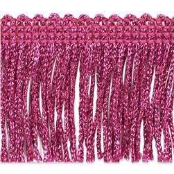 "2"" Metallic Chainette Fringe Trim Fuchsia"