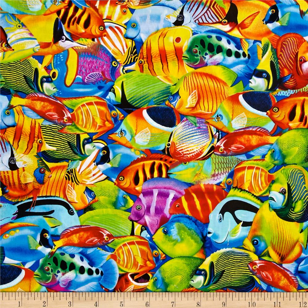 Timeless Treasures Fish Multi Discount Designer Fabric