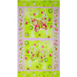 The Garden Club Butterfly Panel Pink/Green Fabric