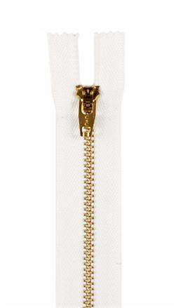 "Brass Jeans Zipper 9"" White"