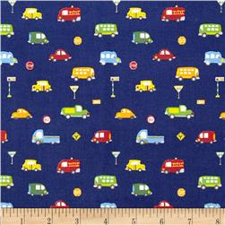 Kokka Corduroy Cars Blue Fabric