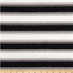 Cotton Blend Yarn Dyed Jersey Knit Stripes Black/Ivory