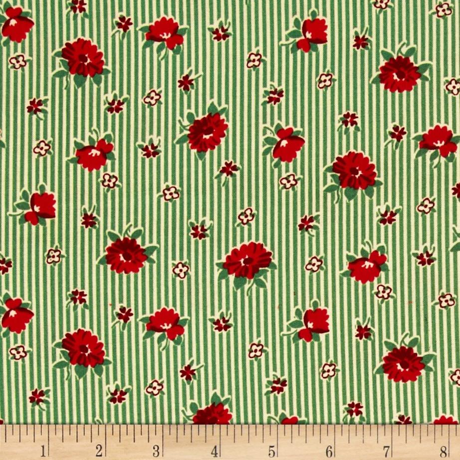 Back Porch Prints Floral Stripe Green