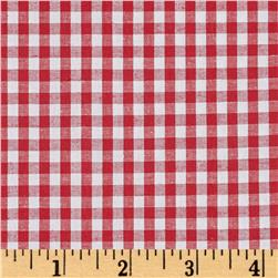 Cotton Stretch Poplin Gingham Red/White