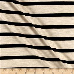 Jersey Knit Black Stripes on Beige
