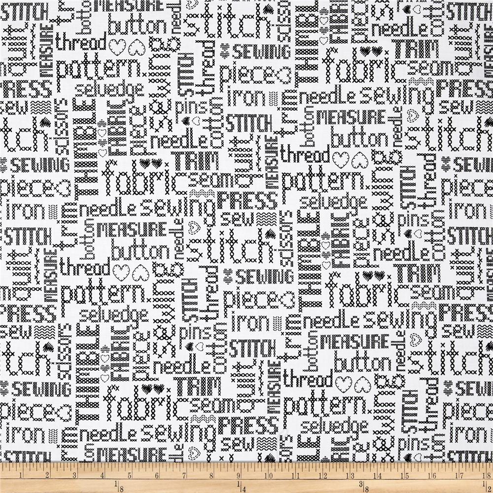 My Happy Place Embroidered Words Black/White