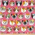 Kaufman Whiskers & Tails Dressy Kitty Pink