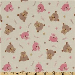 Flannel Teddy Bear White/Pink