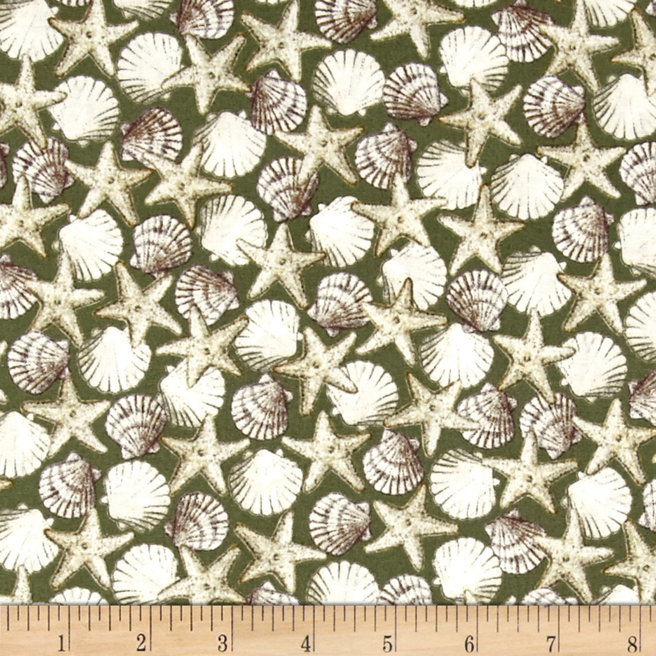 Seaside Shells Green Fabric by Quilting Treasures in USA