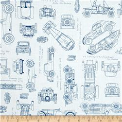Kaufman Vintage Blue Prints Auto Sketch Blue