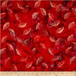 Timeless Treasures Tonga Batik City Lights Floating Leaves Red