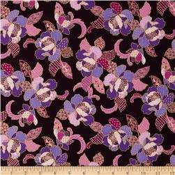 Sonja Metallic Patterned Petals Amethyst/Gold