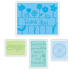 Sizzix Textured Impressions Embossing Folders 4 Pack-Thank You Set