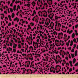 Cotton Jungle Voile Leopard Magenta/Black Fabric