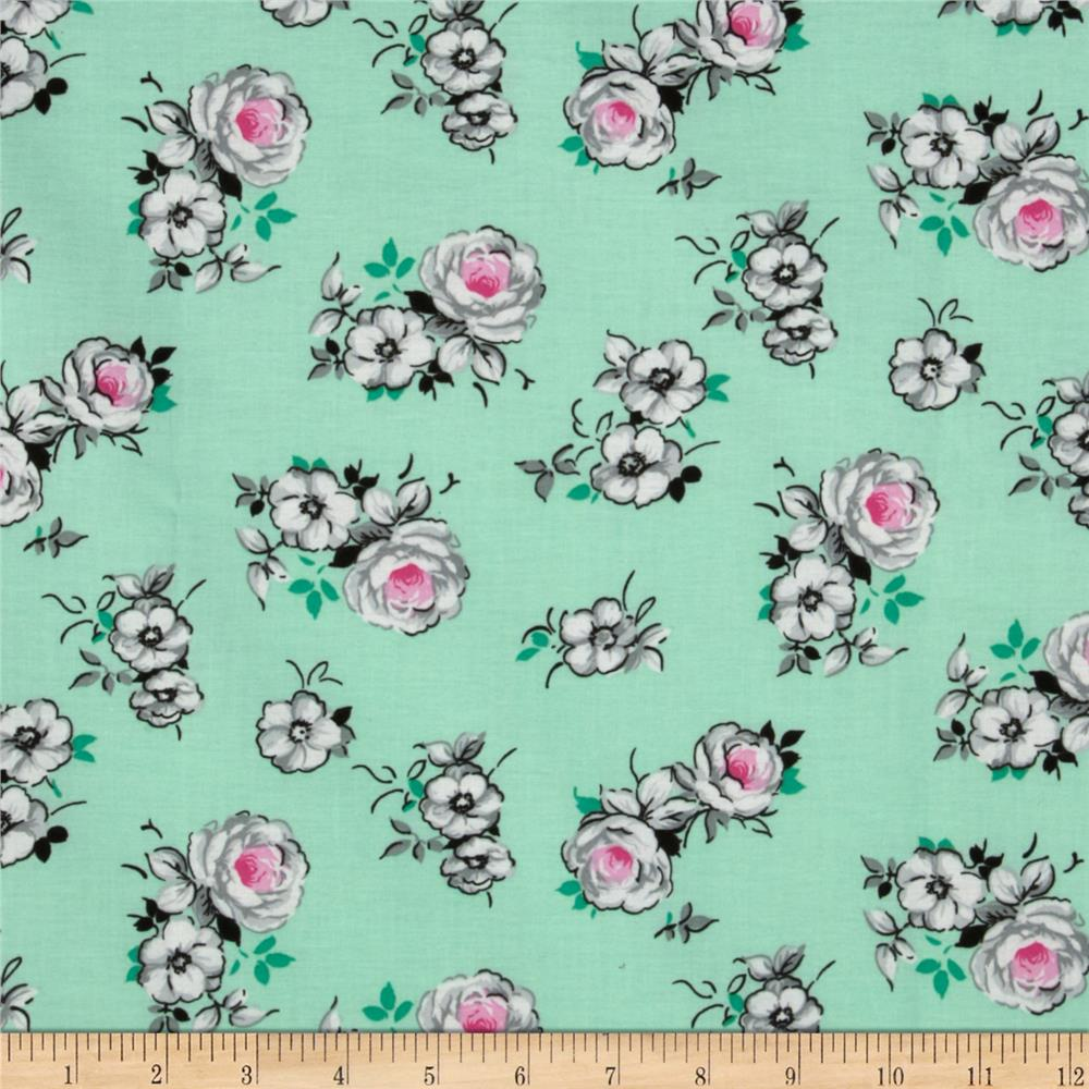 Spring Fling Large Roses Mint/Grey
