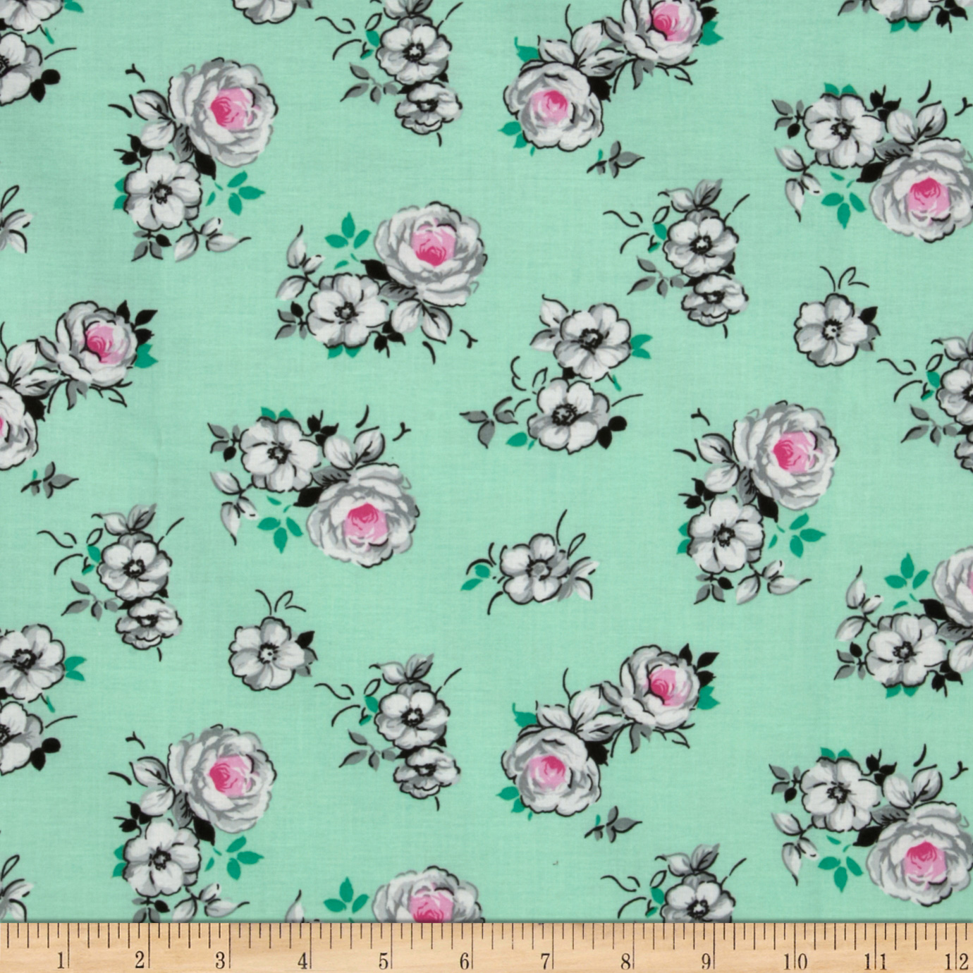 Spring Fling Large Roses Mint/Grey Fabric