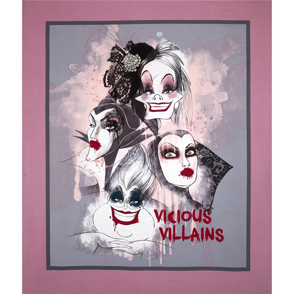 Disney Villians Vicious Villains Panel-36'' Pink Fabric By The Yard