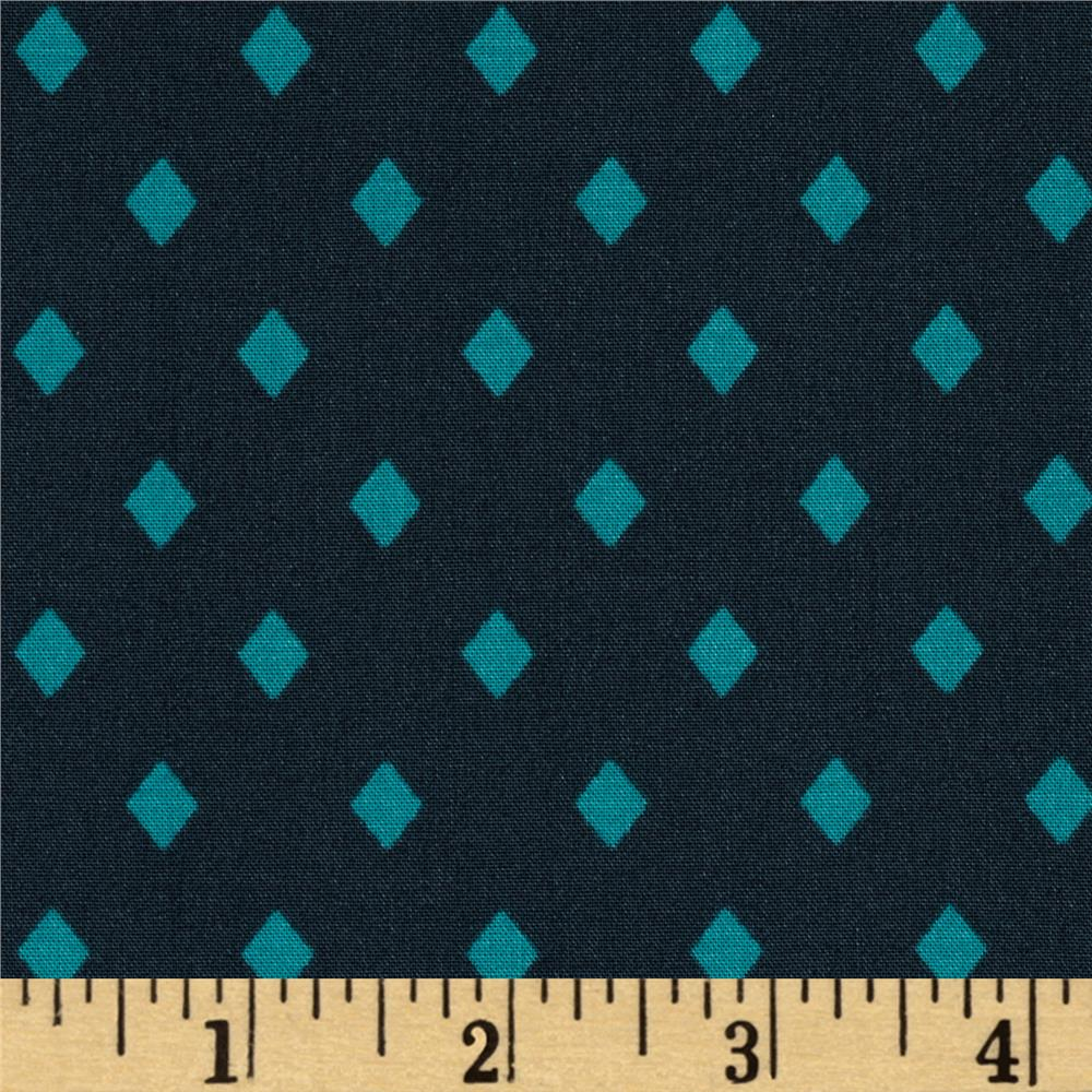 Cotton & Steel Frock Rayon Poplin Gemstones Navy/Teal