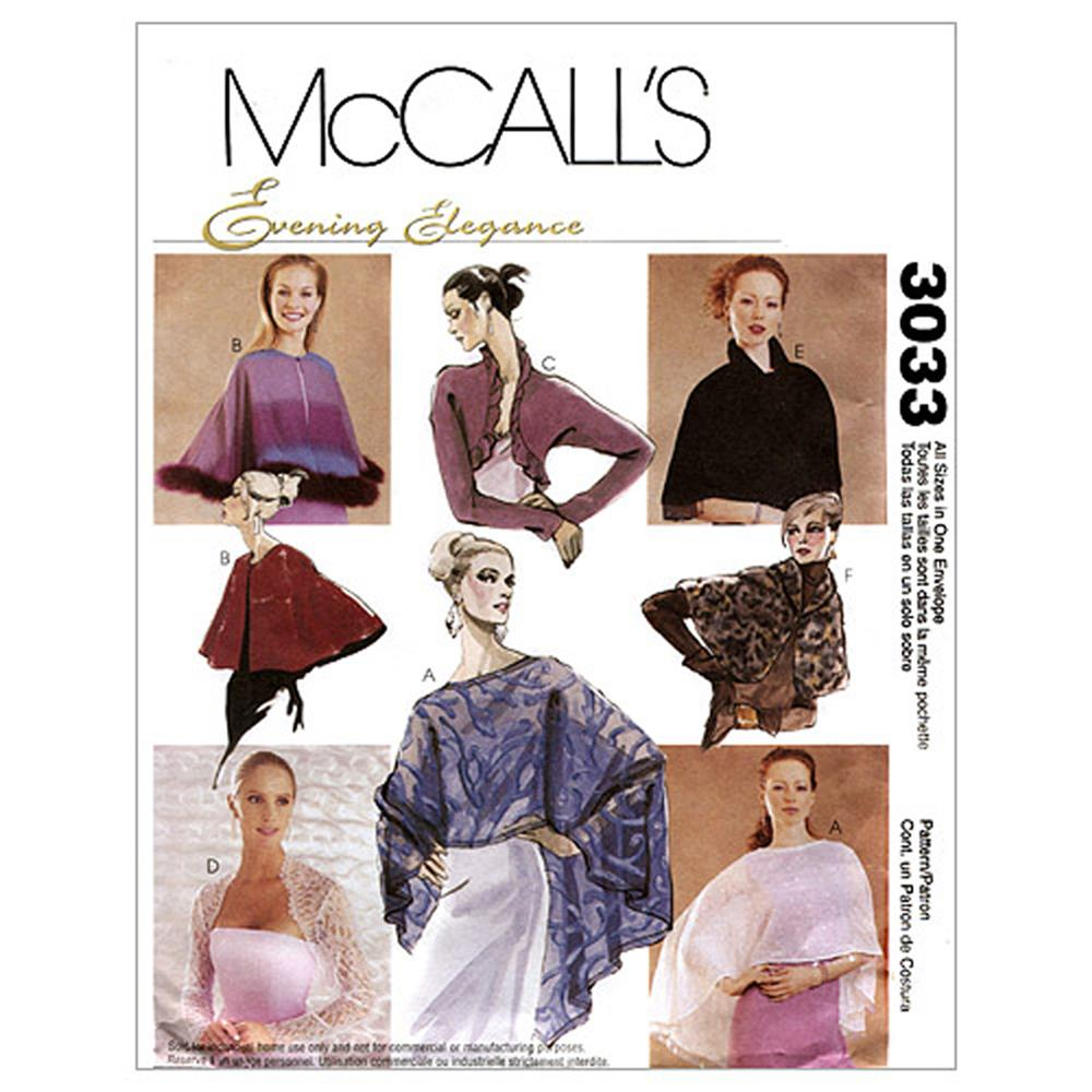 McCall's Misses' Evening Cover-Ups Pattern M3033 Size OSZ