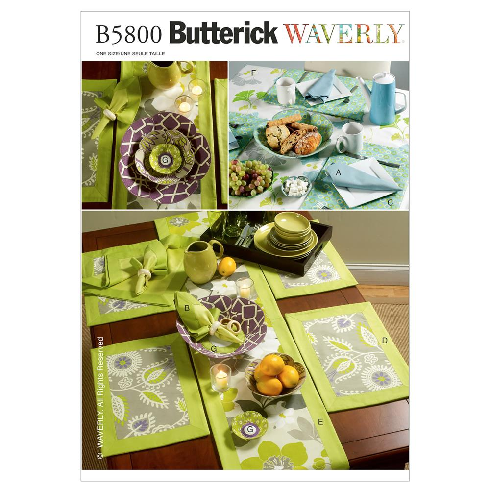 Butterick Napkins, Placemats, Table Runner, Table Cloth Pattern